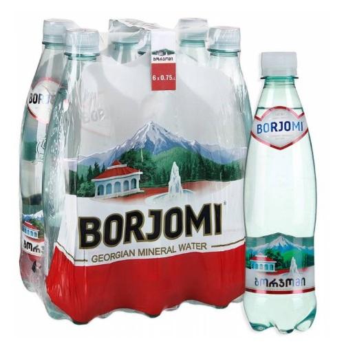 Упаковка мінеральної води Borjomi ПЕТ с/газ 0.75 л.х6 шт.