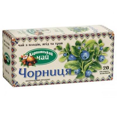 """Чай пакетированный Карпатский Чай """"Черника"""" 2 г.х20 пак."""