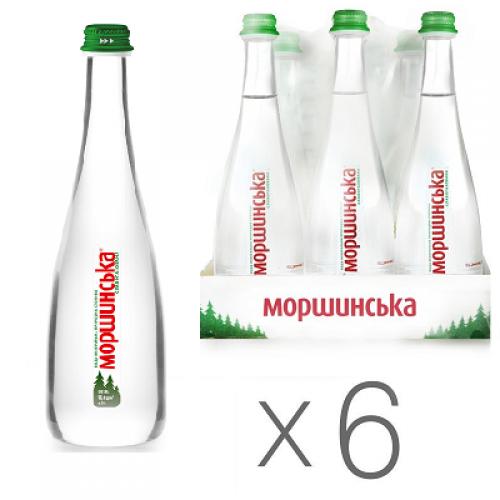 Упаковка мінеральної води Моршинська Premium скло сл/г 0.5 л.х6 шт.