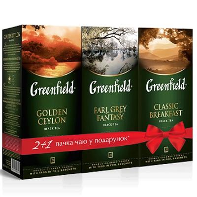 "Набор чая пакетированного Greenfield ""Classic Breakfast""/""Earl Grey Fantasy""/""Golden Ceylon"" (2г.х25шт.х3пач.) 2+1"