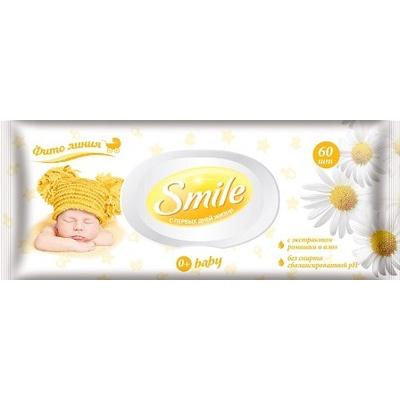 """Влажные салфетки SMILE Baby """"Ромашка и Алое"""" 1 пач.х60 шт."""