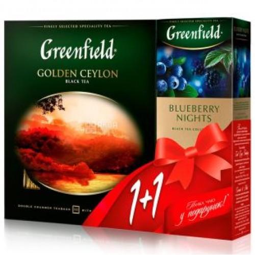 """Набор чая пакетированного Greenfield """"Golden Ceylon"""" (1.5 г.х96 пак.)/""""Blueberry Nights"""" (1.5 г.х25 пак.)"""